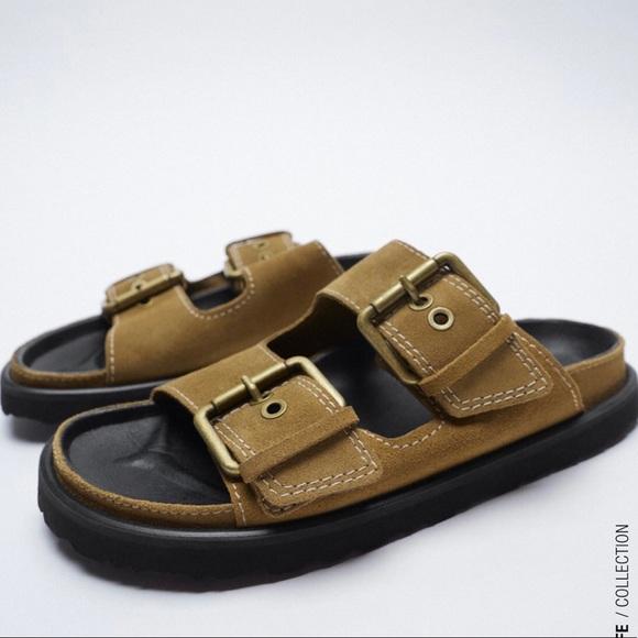 NWT Zara Leather double buckle flat sandal